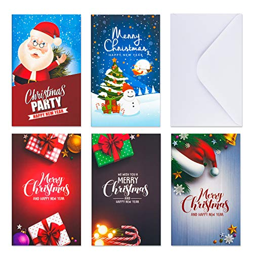 Christmas Gifts Card Money Holder in 5 Holiday Cute Festive Designs 30 Christmas Greeting Cards & 30 Envelopes