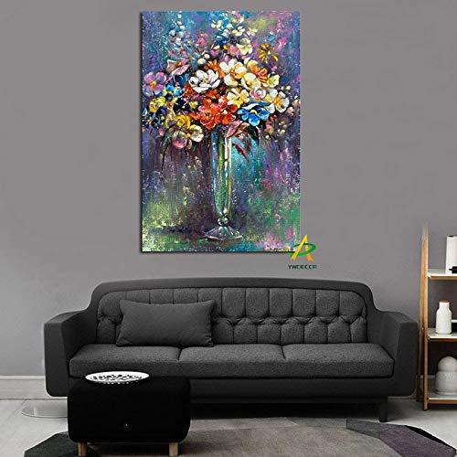 tzxdbh Imprimir Pintura de Estilo Graffiti Mural Flor Abstracta en un jarrón Decoración de orquídeas Decoración de la Sala de Estar habitación de los Padres