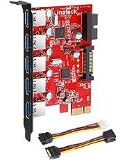 Inateck KT5001 5 portar USB 3.0 PCI Expresskort och 15 stift strömkontakt – röd