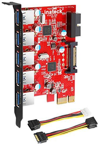 Inateck PCIe USB 3,0 Karte (5Ports), 20-poliger Anschluss mit 15-Poligem SATA-Anschluss, 4-poliges 2-x-15-Pin-Kabel, EIN Y-Kabel (Flexibles SATA-Kabel)