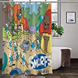 Large Puzzle The Smurfs - Cortina de ducha (167,6 x 183 cm)