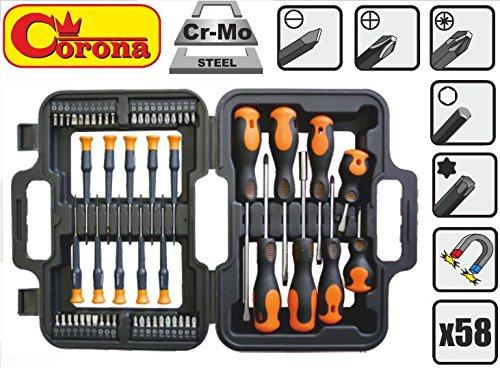 Seconique Corona-set di cacciaviti con punte, 58 pezzi, set in acciaio Cr-Mo, Cor C5373)