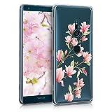 kwmobile Hülle kompatibel mit Sony Xperia XZ3 - Handyhülle - Handy Hülle Magnolien Rosa Weiß Transparent