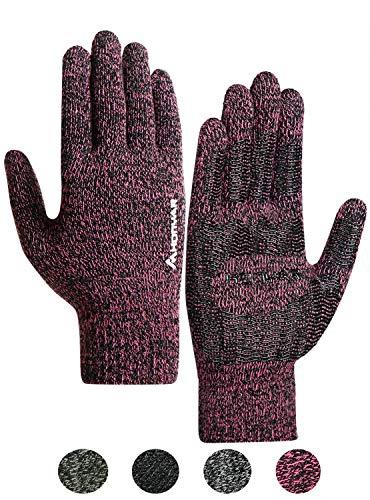 HONYAR Handschuhe Damen Touchscreen, Winterhandschuhe Herren mit Winter Warme Gefüttert - Elastische Manschette - Rutschfester Griff - Autofahren Laufhandschuhe Fahrradhandschuhe - Rose (L)