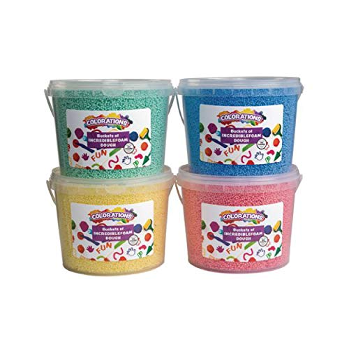 Colorations IncredibleFoam Dough, 4 Colors, 3 1/2 Ounces Each, Plastic Tub 6 inches x 7 1/2 inches, for Kids, Educational, Arts & Crafts, Kindergarten & PreK, Kids Toys, Mess-Free