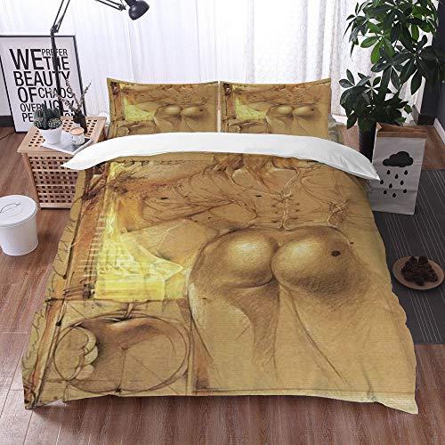 Qinniii Bedsure Funda Nórdica,Dibujos Animados Pelo Amarillo Belleza Sexy Caderas,Fundas Edredón 200 x 200 cmcon 1 Funda de Almohada 40x75cm