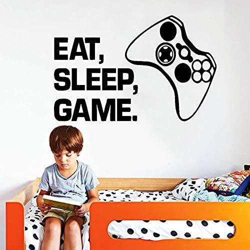 Gamer Wandtattoo Essen Schlaf Spiel Wiederholen Vinyl Aufkleber Controller Videospiel Wandtattoos Für Kinder Schlafzimmer Wandkunst Aufkleber 64 * 42 CM
