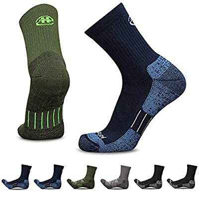 Heatuff Men's 6 Pack Hiking Crew Socks Athletic Cushion Outdoor Trekking Sock Reinforced Heel and Toe