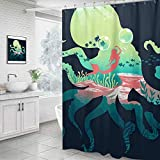 GXQQ Ocean Shower Curtain Set with Hook, Teal Octopus Pink Mermaid Fish Ocean Animal Turquoise Shower Curtain Prefect Decorative Kids Bathroom, 60 x72 Inch