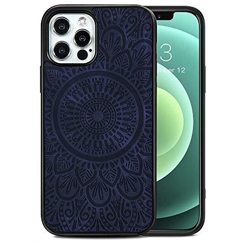 TANYO Étui en Cuir avec MagSafe pour iPhone 12 | 12 Pro (6.1 Pouces), Housse en Prime TPU/PU avec Fonction Magnétique MagSafe, Coque de Téléphone Antichoc en Silicone TPU - Bleu