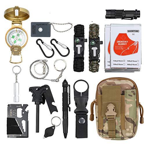 Proster 18 in 1 Kit di Sopravvivenza con Bussola Militare Professionale Kit Emergenza Multifunzione per Campeggio Alpinismo con Borsa Camouflage Inclusi Coperte Termiche Lenti Riflettenti Braccialetti