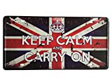 UOOPAI Keep Calm and Carry On British Flag Vintage Auto License Plate Metal Tin Sign Wall Plaque