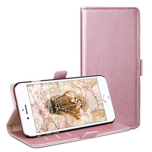 RuiPower para Funda iPhone 6 Plus/iPhone 7 Plus/iPhone 8 Plus Carcasa Libro con Tapa Flip Folio Case de PU Cuero Silicona Soporte Plegable Ranuras Tarjetas y Billetera Magnético Cover - Oro Rosa