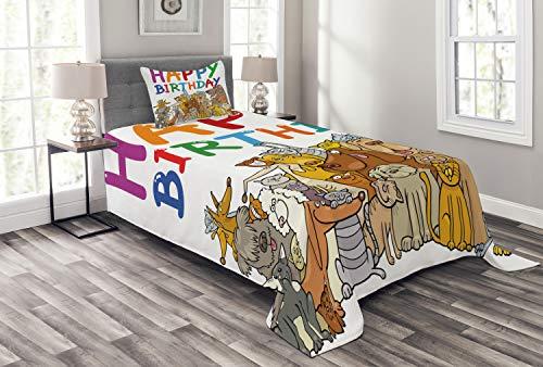 ABAKUHAUS Fête d'anniversaire Couvre-Lit, Streets Animaux Chiens, pour la Chambre, 170 x 220 cm, Multicolore