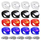Haploon 16 Pieces Silicone Bike Lights Set with LED Bike Light Front and Back Waterproof and Safe Bike Headlight and Taillight