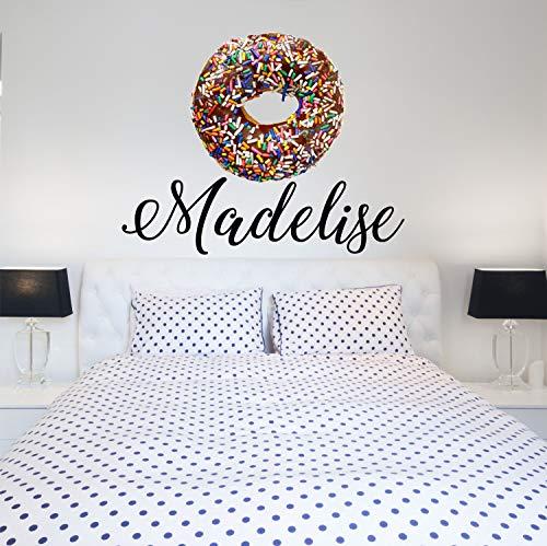 Aangepaste naam Chocolade Donut Kwekerij Muursticker Meisjes Gepersonaliseerde Naam Donut Muursticker Aangepaste Naam Teken Aangepaste Naam Stencil Monogram