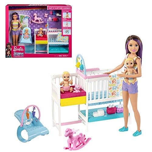 Barbie Skipper Hora de la siesta, Muñeca Canguro con bebés y accesorios, regalo para niñas y niños 3-9 años (Mattel GFL38)
