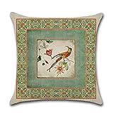 SDCVRE Funda de Almohada Línea de algodón Vintage pájaro Verde Impreso Funda de Almohada Flores clásicas Funda de cojín...