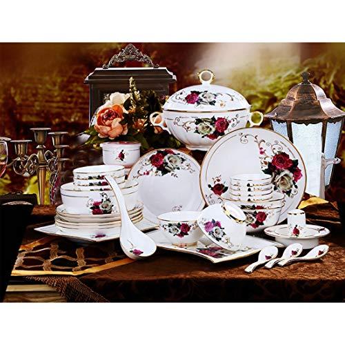 MMFXUE Juego Combinado de Cena de cerámica Blanca Marfil de 62 Piezas, Juego de Platos Blancos, tazón de Porcelana, tazones de cerámica, Juego de Platos de Cocina