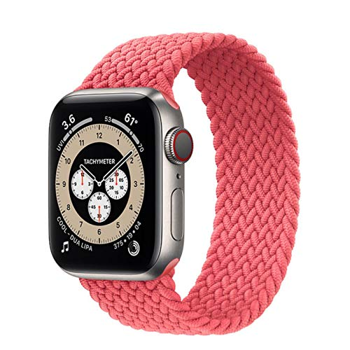 Lazo solo trenzado para Apple Watch Band 44 mm 40 mm 38 mm 42 mm Pulsera de cinturón elástico de nylon para IWatch Series 3 4 5 Se 6 Correa-Pink Punch, 42 mm o 44 mm