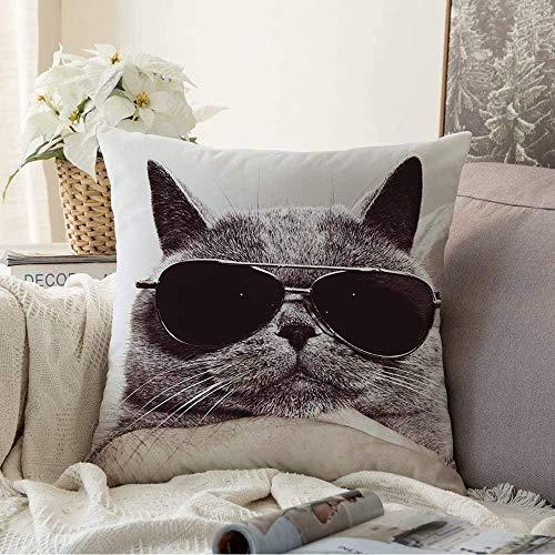 N\A Fundas Decorativas para Cojines Funda de cojín Texturas Macro Gafas de Sol Up Awaresome Cute Funny Hocico Cool Grey British Elegant Design Funda de Almohada cómica para sofá