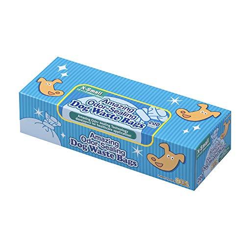 BOS Amazing Olor Sellado Perro Poop Bolsas – Duraderas y sin perfume (200 bolsas) [Tamaño: XS, Color: azul claro] – Nuevo paquete de diseño de cachorros