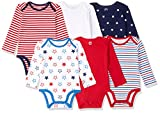 Amazon Essentials Baby Infant 6-Pack Long-Sleeve Bodysuit, Uni Americana, 24 Months