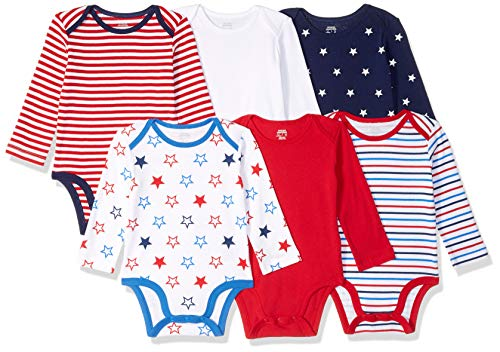 Amazon Essentials 6-Pack Long-Sleeve Bodysuit Infant-and-Toddler-Layette-Sets, Uni Americana, 06M US