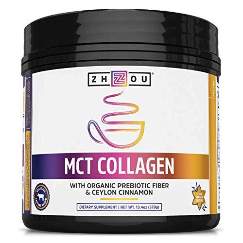 Zhou MCT Collagen   with Organic Prebiotic Fiber & Ceylon Cinnamon   25 Servings, 13.4 Oz