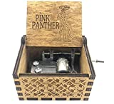 Cuzit - Caja de música con diseño de pantera de madera tallada con manivela para regalo de cumpleaños
