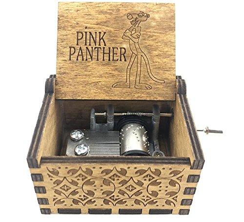Cuzit - Carillon a forma di pantera, in legno antico, intagliato, colore: Rosa