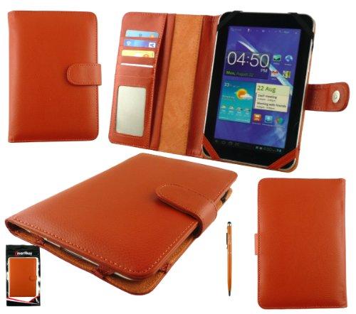 Emartbuy® Orange Doppelfunktion Stylus + Universalbereich Orange Gr& Hülle Tasche Hülle Mit Kartensteckplätze Geeignet Für Trekstor Surftab Xiron 7.0 HD