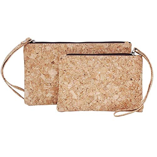 Boshiho Cork Clutch Bag, Set of 2 Vegan Cork Wallet Purse Handbags Clutch 2 in 1 Eco Friendly Slim Wallet Makeup Bag Pencil Pen Holder Bag(Brown Zipper-1)