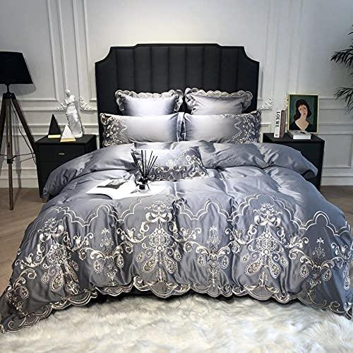 Exlcellexngce Bettbezug 220 X 240 cm,EuropäIschen Stil Luxus Grau 1000tc Satin äGyptischer Baumwolle Hohe PräZision Stickerei Bettbezug Bett Blatt Kissen BettwäSche Set-1_2.0m Bett (4 StüCke)
