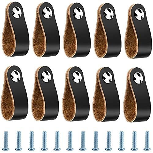 10 Piezas Tiradores de Piel, Tiradores de Armarios Cuero con Tornillos para Cajones Armarios Cocina - 14 x 2.5 cm, Negro