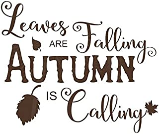 """Wall Decor Plus More WDPM3863 Leaves are Falling Autumn is Calling Fall Holiday Wall Stickers Vinyl Decal, 23"""" x 19"""", Choc..."""