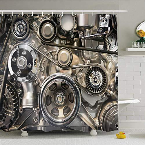 N/A douchegordijn 72x72 inch energie zilver precisie auto motor deel industriële legering machine industrie Detail zuiger Auto ontwerp waterdichte polyester stof badkamer gordijnen Set met haken