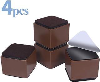 Elevadores de muebles de 5 cm, elevadores de acero al carbono, Ezprotekt de diámetro de 6cm, autoadhesivos, resistentes, para muebles, añade 5 cm de altura a las camas, sofás