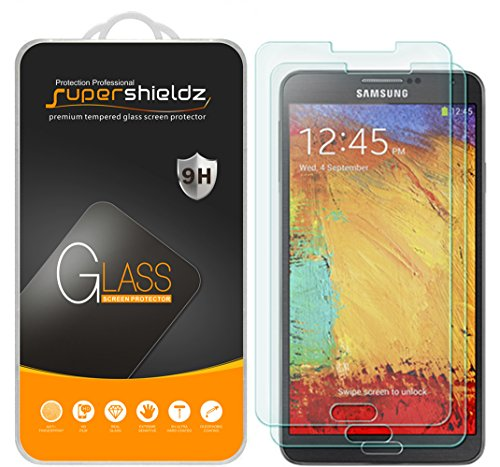 (2 Pack) Supershieldz Designed for Samsung Galaxy Note 3 Tempered Glass Screen Protector, Anti Scratch, Bubble Free