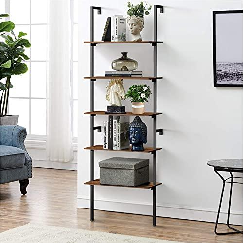 amzdeal Estantería de escalera industrial de 5 niveles, estantería de escalera, estantería de pie, soporte para plantas, estante de exposición, marco de acero, para sala de estar, oficina, balcón