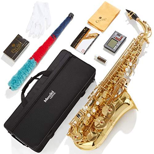 Mendini by Cecilio E-Flat Alto Saxophone, Gold Lacquered + Tuner, Case, Pocketbook - MAS-L+92D+PB