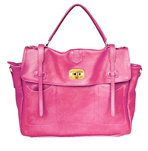 LUXURY LEATHER BAG Borsa DEEP ROSE in Vera Pelle Donna Made in Italy a spalla mano shopper pelle con tracolla regolabile modello CARTELLA ELEONORA