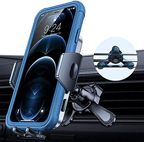 Andobil Car Vent Phone Holder Mount [2 Ultra Stable Clips & Fit All Phones] Hands Free Universal Air Vent Phone Holder for Car Compatible with iPhone 12/12 Pro/12 Pro Max/11 Samsung S21/S20 etc
