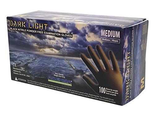 Adenna DLG675 Dark Light 9 mil Nitrile Powder Free Exam Gloves (Black, Medium) Box of 100