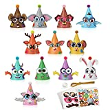 Party Hats Birthday Arts and Crafts for Kids Activities Kit Make Your Own Animal Monster Paper Fun Hat Party Favor Games Face Stickers Gifts for Christmas Fiesta Thanksgiving New Year Decorations