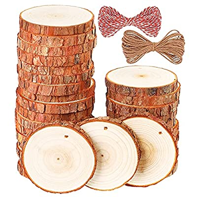"""Natural Wood Slices, 30 Pcs 3.1""""-3.5"""" Unfinished Wood Craft Kit, Predrilled Wooden Circles with Hole Crafts Christmas Ornaments DIY Crafts"""