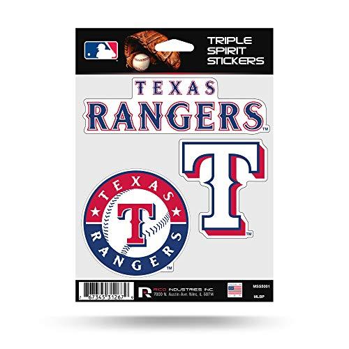 Rico Industries Texas Rangers Triple Sticker Multi Decal Spirit Sheet Auto Home Baseball