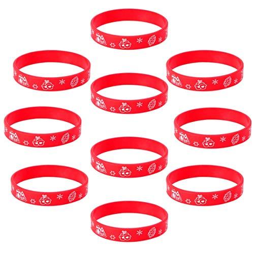 DINEGG 10 unids Pulsera de Silicona Pulsera Navidad Fiesta Mano Pulsera elástica Pulsera Vacaciones Unisex Pulsera Rojo QQQNE (Color : Red)