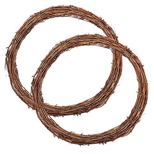 Sntieecr 2 Pieces 30 cm Large Natural Grapevine Wreathes Vine Branch Wreath Christmas Rattan Wreath for DIY Craft Front Door Wall Hanging or Wedding Decors
