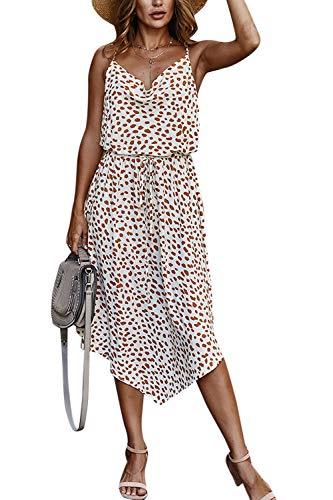 Sommerkleider Damen Leopard Kleid Spaghettiträger A-Linie Partykleider Weiß S
